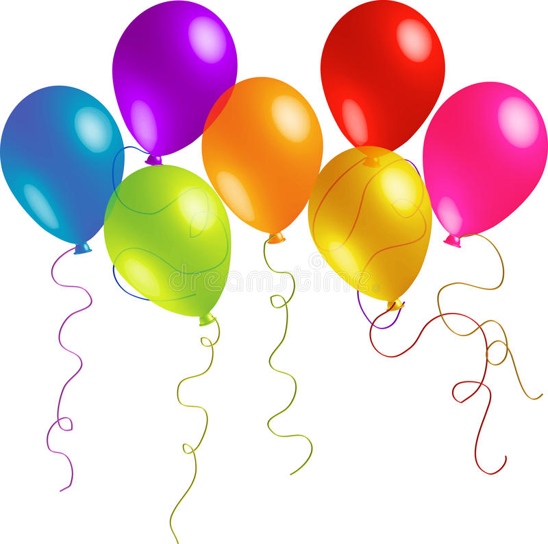 Seven Fun Balloons vector illustration