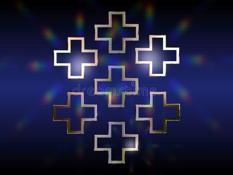 Seven Greek Crosses Royalty Free Stock Photo