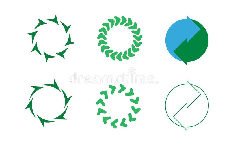 Seven green leave recycling icon / logo art. Recycle symbols and icons green and blue royalty free illustration
