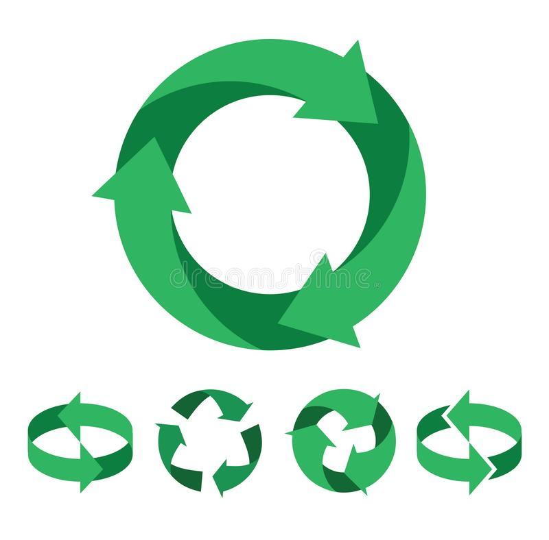 Seven green leave recycling icon / logo art. Green recycle symbols and icons stock illustration