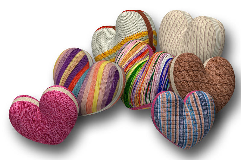 Seven hearts of knitted fabric stock illustration