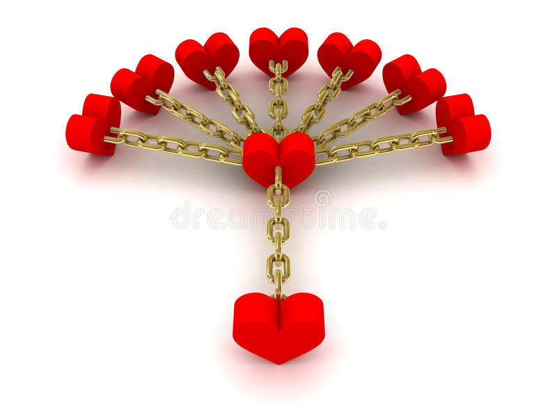Download Seven Hearts Linked With One Heart. Good Relations. Stock Illustration - Image: 32888632