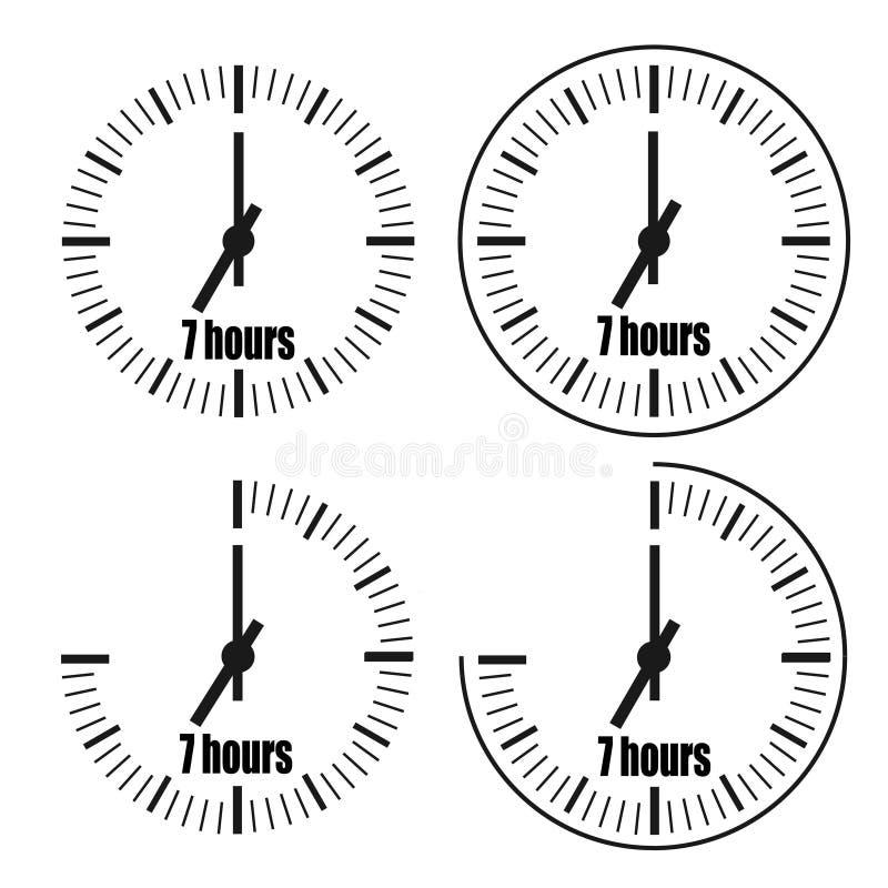 Seven Hours Clock on white background. Seven o`clock. stock illustration