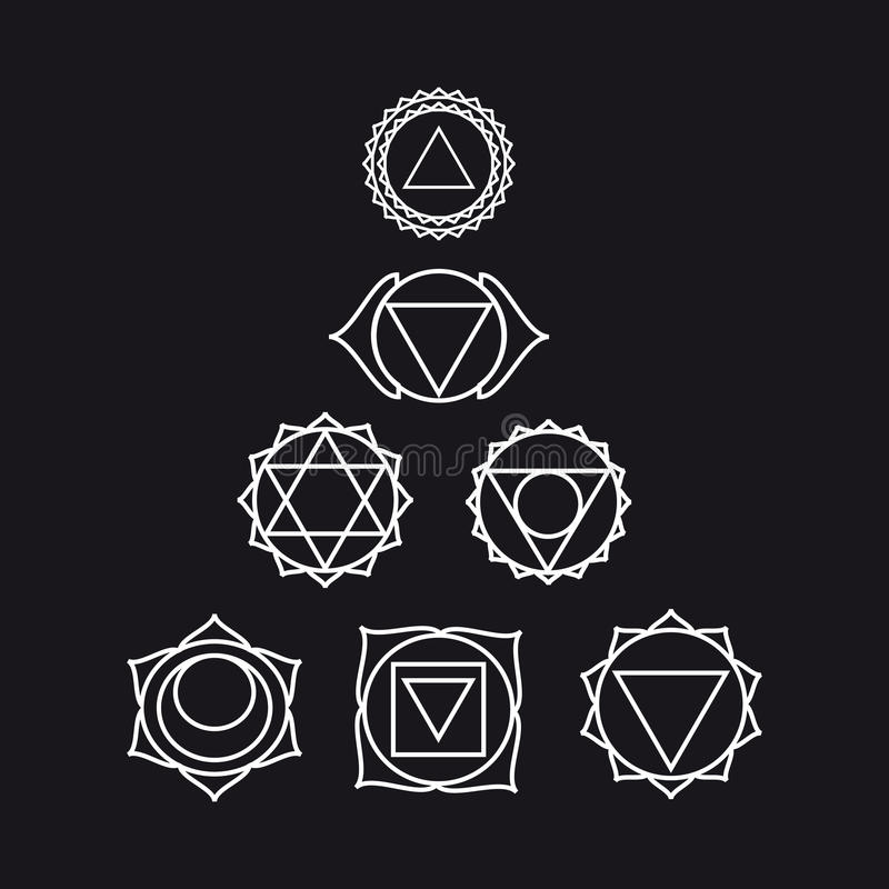 Seven Human Chakras Illustration Black And White Color Stock