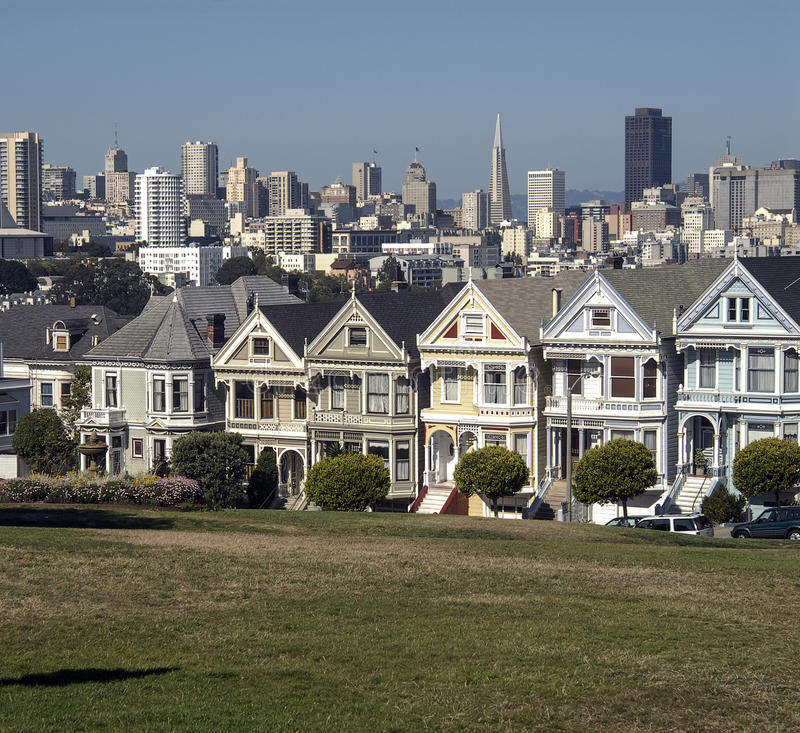 Seven Ladies. Famous seven victorian houses called 'Seven Ladies' in San Francisco, California stock photography