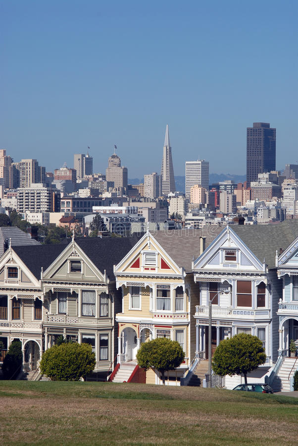 Seven Ladies. Famous seven victorian houses called 'Seven Ladies' in San Francisco, California royalty free stock photos