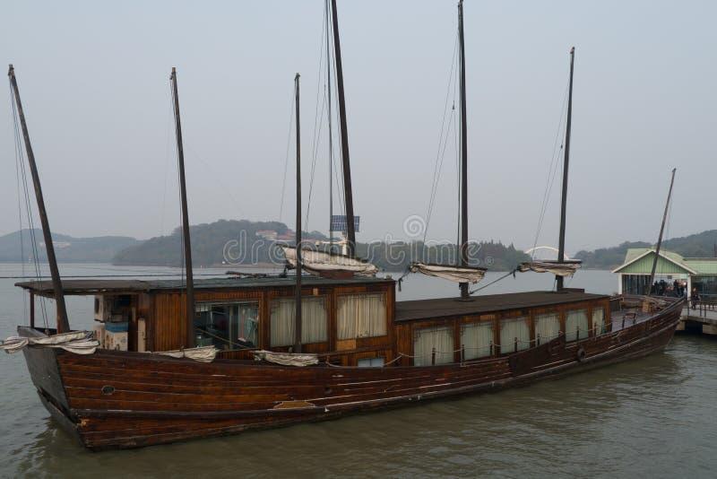 Seven masted ancient sailboat in Taihu Lake royalty free stock photos