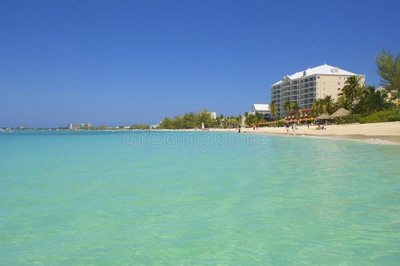 Seven Mile beach in Grand Cayman, Caribbean. Panorama of Seven Mile beach in Cayman islands, Caribbean stock image