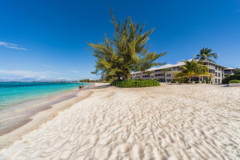 Seven mile beach on Grand Cayman in the Caribbean royalty free stock image