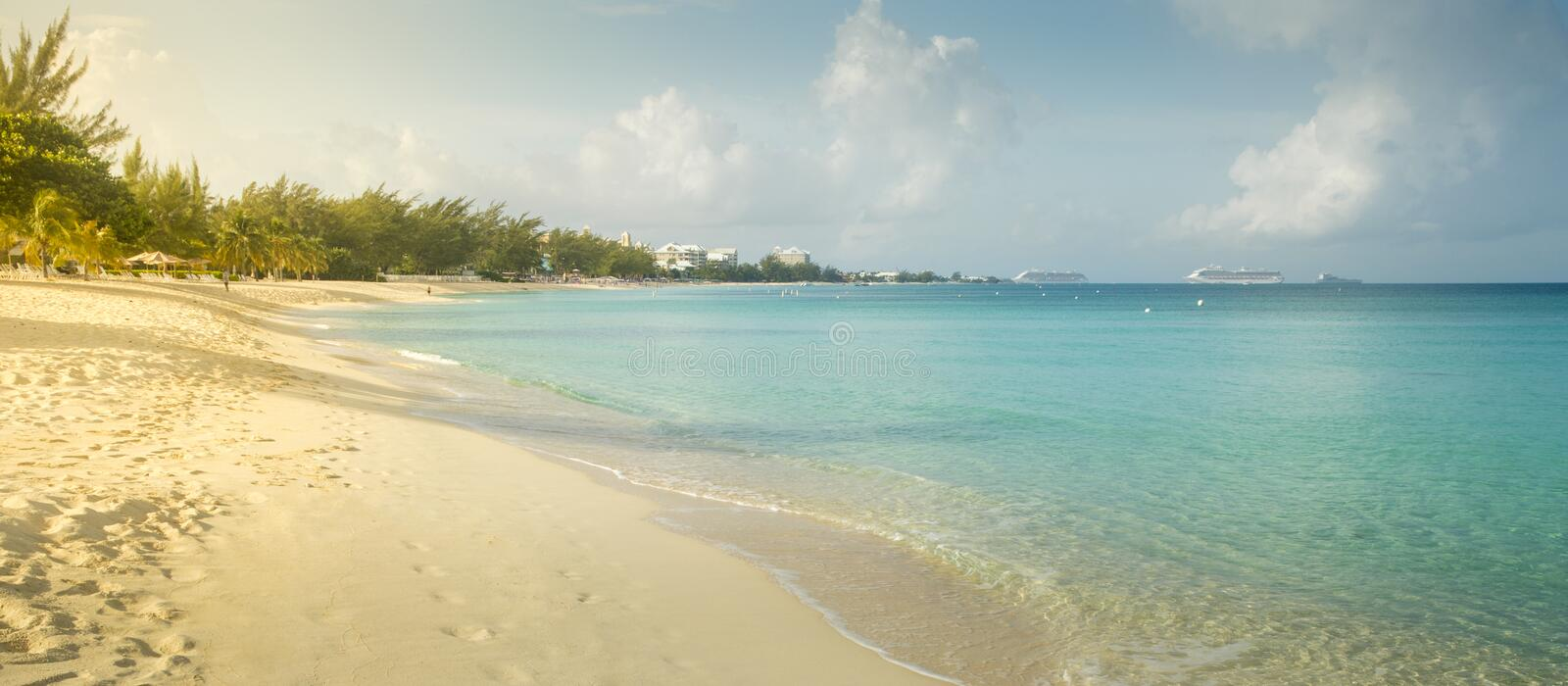 Seven Mile Beach on Grand Cayman island royalty free stock image