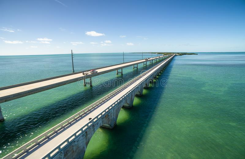 Seven mile bridge aerial view. Aerial view along the seven mile bridge of US1 to the florida keys royalty free stock photography