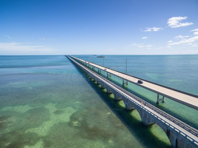 Seven mile bridge aerial view. Aerial view along the seven mile bridge of US1 to the florida keys stock images