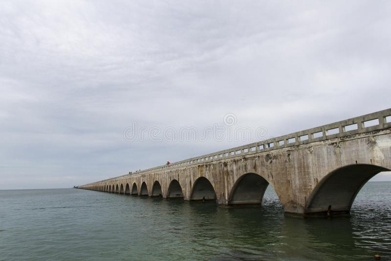 The Seven Mile Bridge is a famous bridge in the Florida Keys, approximately 10.9 kilometres long royalty free stock images