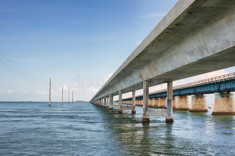 Seven Mile Bridge. The famous Seven Mile bridge, part of the Overseas Highway in the Florida Keys, viewed from the north side looking south. To the right is the stock photo