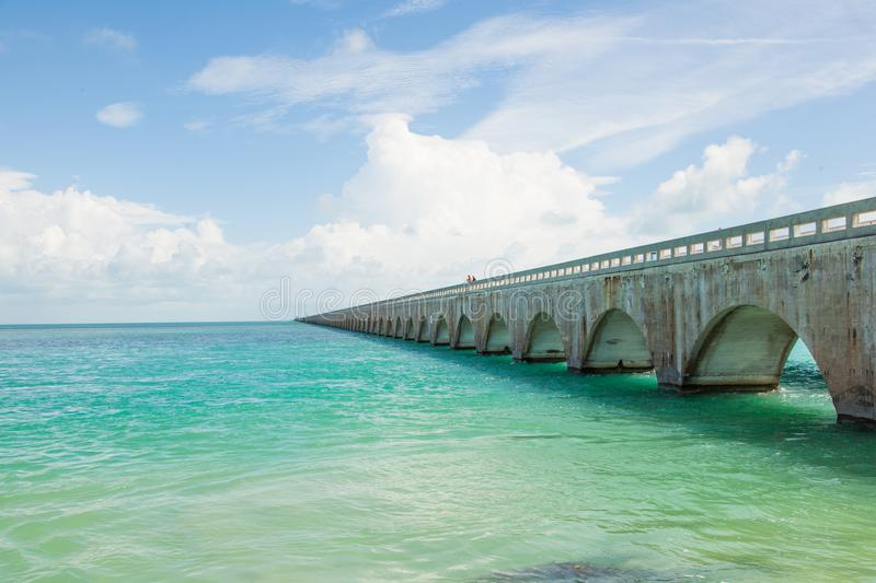 Seven Mile bridge in Florida Keys. The blue sea and the Seven Mile bridge on the Overseas Highway in Florida Keys, United States royalty free stock photo