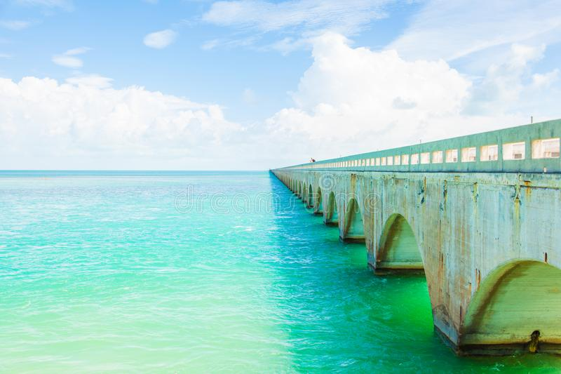 Seven Mile bridge in Florida Keys royalty free stock images