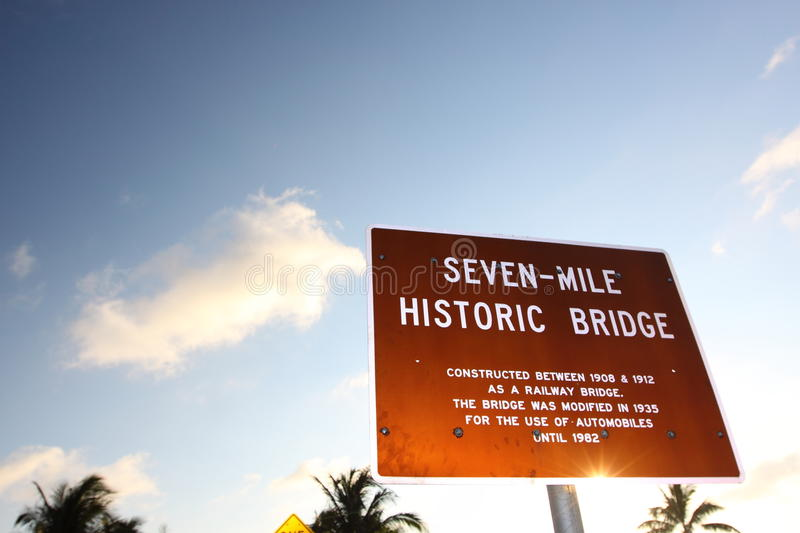 Seven Mile Bridge in Florida Keys. Over the sea royalty free stock images