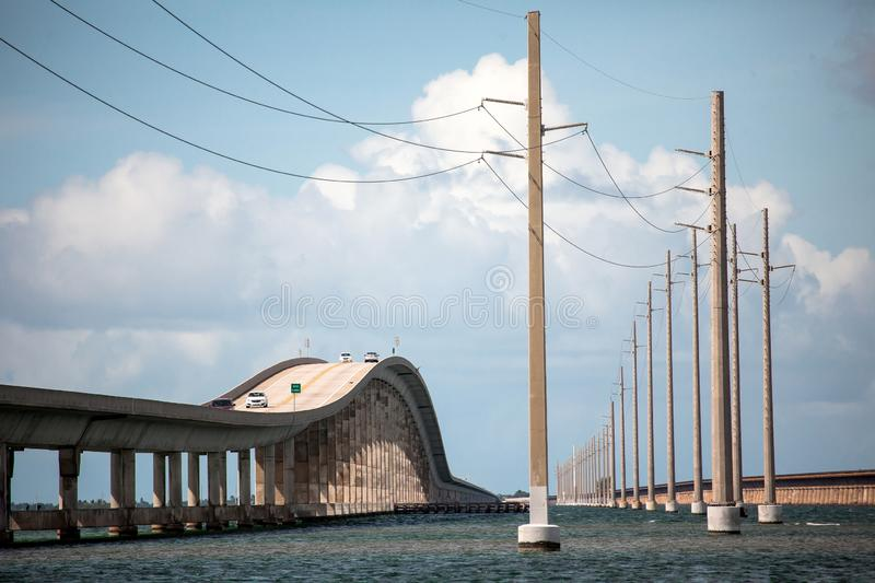 Seven Mile Bridge in Florida Keys. Piling support of abandoned and damaged Old Seven Mile Bridge railroad with landscape view in Florida Keys in Atlantic ocean stock photography