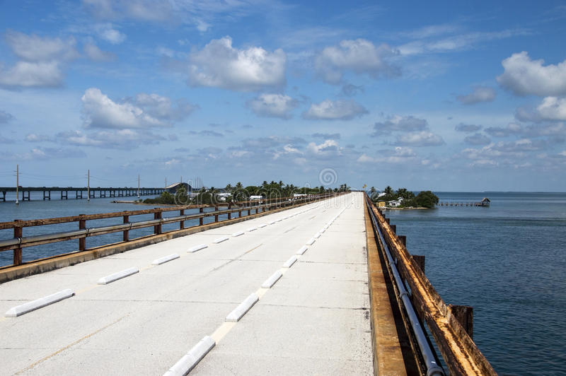 Seven-mile bridge. Seven mile historic bridge with the new bridge in the background in the Florida Keys royalty free stock images