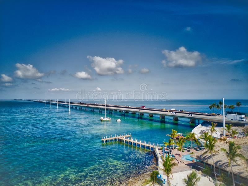 Seven Mile Bridge. Linking the Florida Keys the `Overseas Highway` includes this 7 mile long bridge. Drone image from 100 ft royalty free stock image