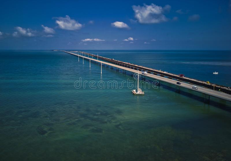 Seven Mile Bridge. Linking the Florida Keys the `Overseas Highway` includes this 7 mile long bridge. Drone image from 100 ft royalty free stock photography