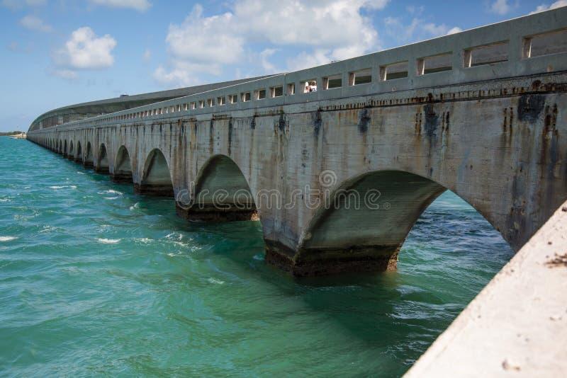 Seven Mile Bridge. Lower Keys, Florida Turquoise water and a seven mile bridge stock photos
