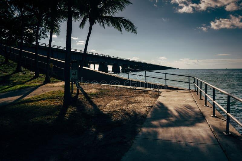 The Seven Mile Bridge, on Overseas Highway in Marathon, Florida. The Seven Mile Bridge, on Overseas Highway in Marathon, Florida royalty free stock image