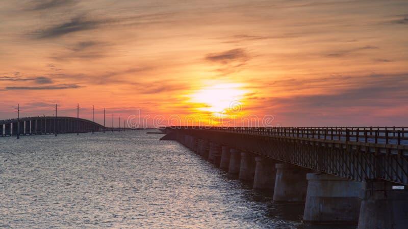 Seven Mile Bridge at Sunset. Florida Keys, USA stock images