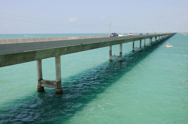 Seven Mile Bridge to Key West. Perspective of seven mile bridge on Florida Keys to Key West stock photo