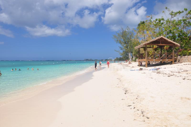 Seven Miles beach in Grand Cayman stock image