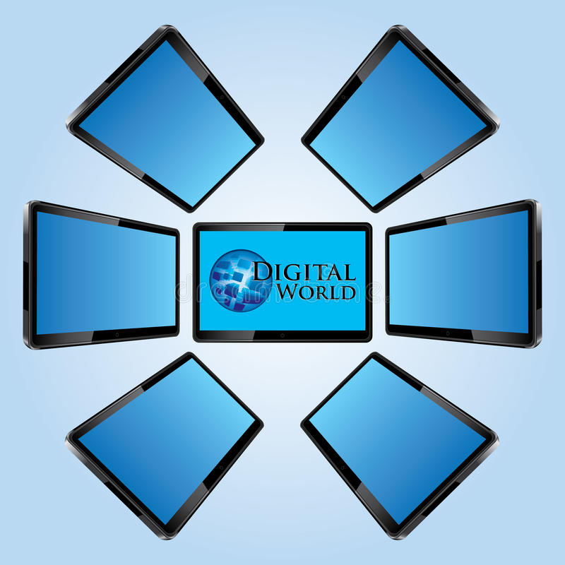 Seven Modern Lcd Screens Stock Images