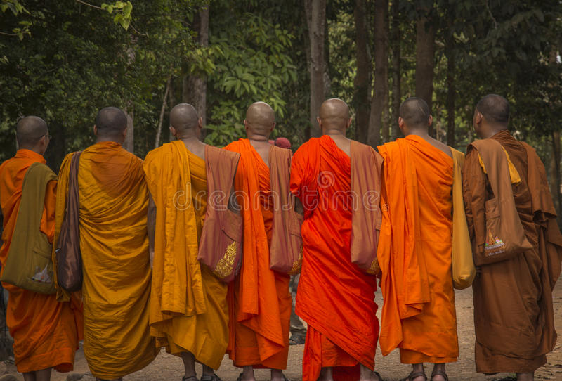 Seven monks in Cambodja royalty free stock images