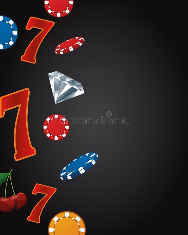 Seven numbers chips diamond betting game gambling casino. Vector illustration stock illustration