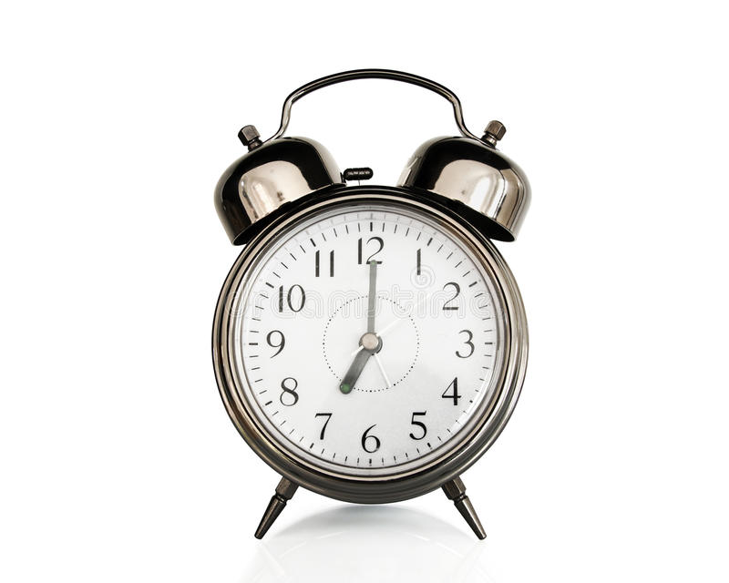 download seven on an old vintage alarm clock stock photo image