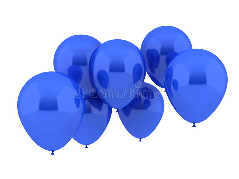 Seven Party Balloons in blue Color royalty free illustration