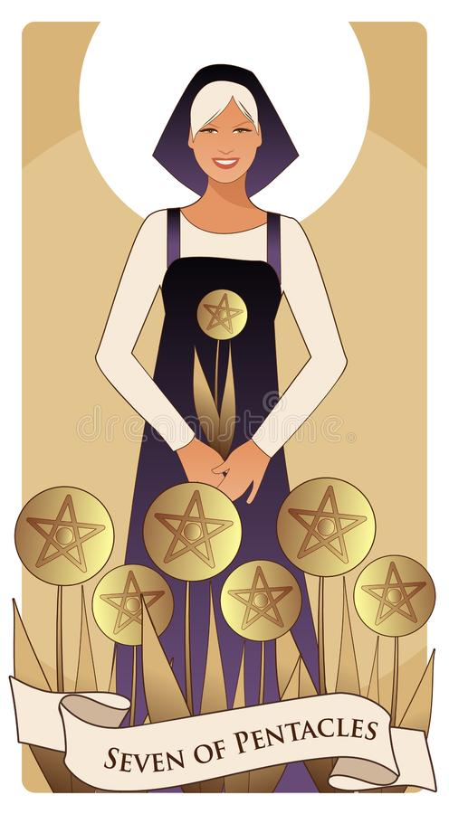 Seven of pentacles. Tarot cards. Beautiful worker collecting a harvest of seven golden pentacles vector illustration