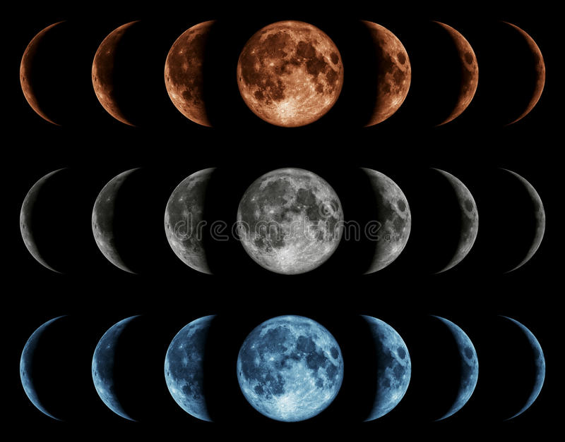 Seven phases of the moon isolated on black background. royalty free stock images