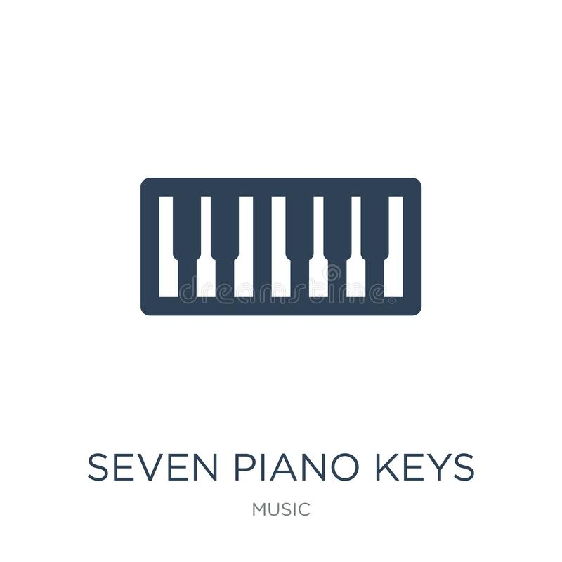 Seven piano keys icon in trendy design style. seven piano keys icon isolated on white background. seven piano keys vector icon. Simple and modern flat symbol royalty free illustration