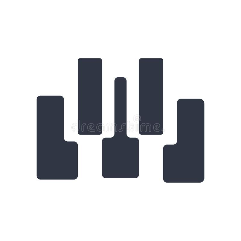 Seven piano keys icon vector sign and symbol isolated on white background, Seven piano keys logo concept. Seven piano keys icon vector isolated on white royalty free illustration