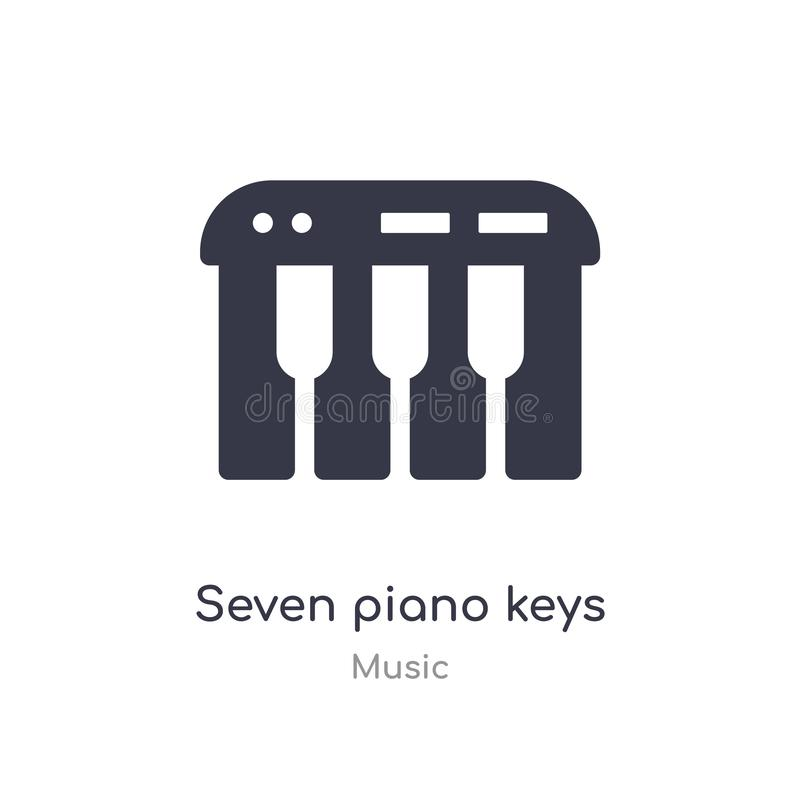 Seven piano keys outline icon. isolated line vector illustration from music collection. editable thin stroke seven piano keys icon. On white background vector illustration