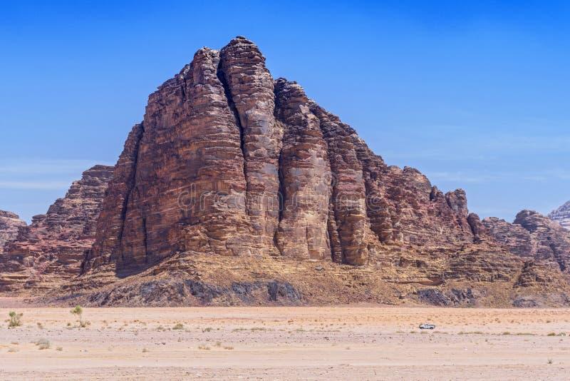 The Seven Pillars of Wisdom rock formation, Wadi Rum, Jordan.  royalty free stock image