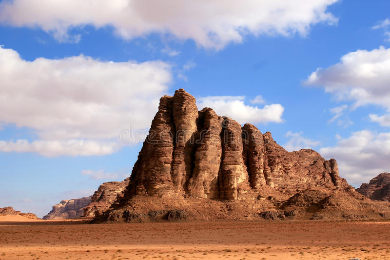 The Seven Pillars of Wisdom rock. Jordan royalty free stock photo