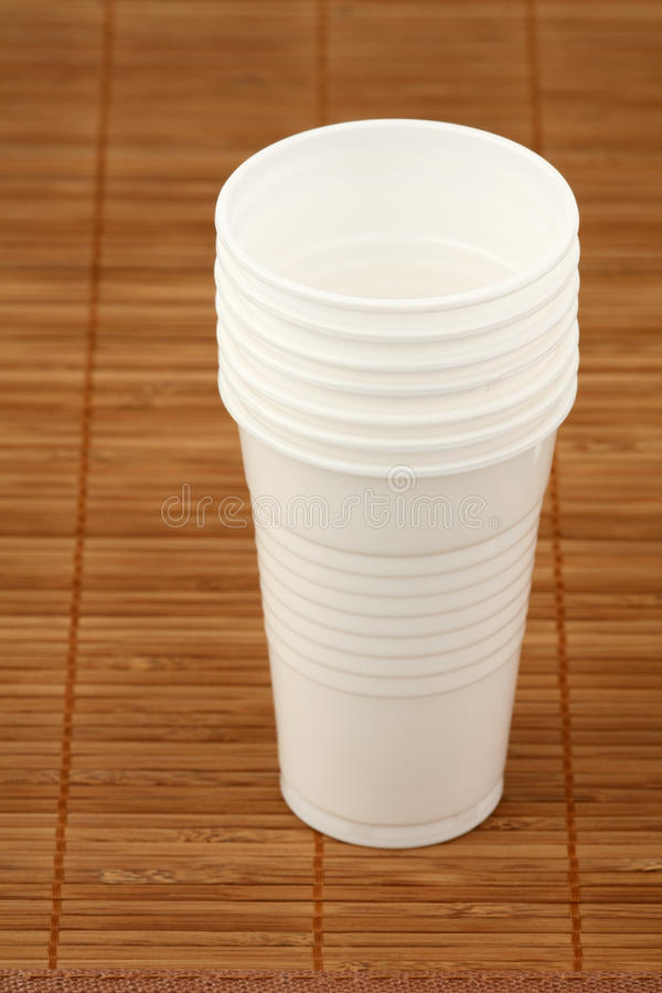 Seven plastic glasses royalty free stock images