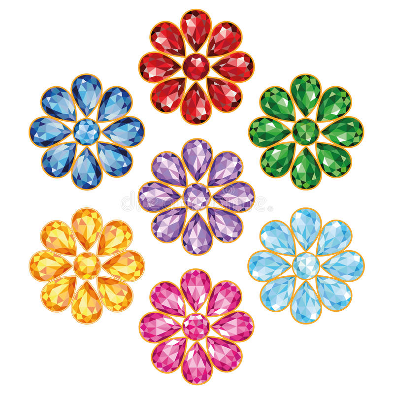 Seven Precious Flower Isolated Objects. Pattern of seven flowers, composed of precious stones of different colors - blue (sapphire), red (ruby), green (emerald vector illustration