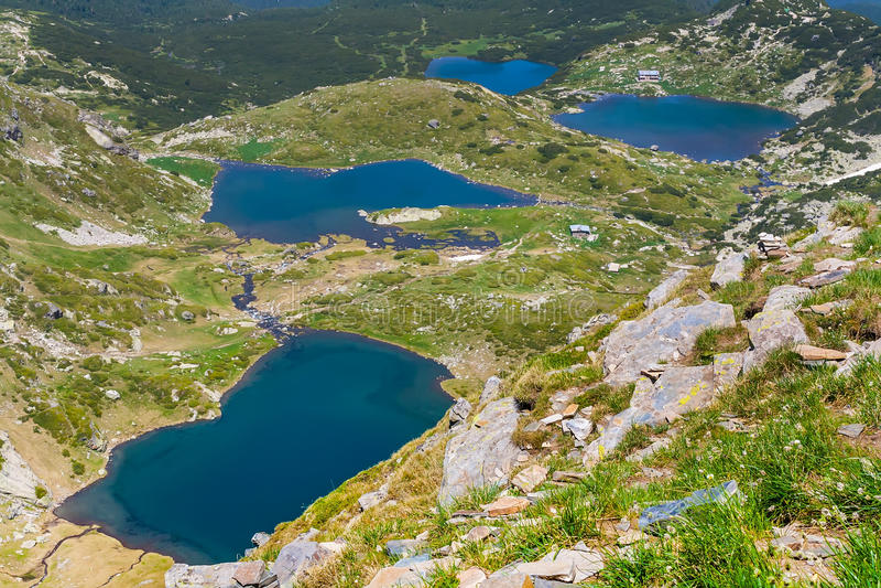 The Seven Rila Lakes, Bulgaria. The Seven Rila Lakes - Bliznaka, Trilistnika, Ribnoto and Dolnoto Lakes in National Park Rila, Bulgaria stock image