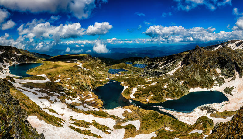 Seven Rila Lakes in Bulgaria. The Seven Rila Lakes are a group of lakes of glacial origin, situated in the northwestern Rila Mountains in Bulgaria. They are the royalty free stock image