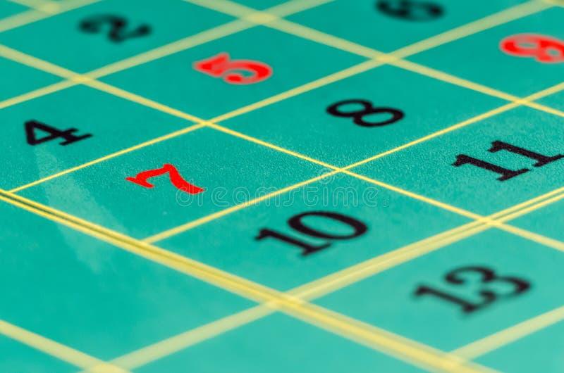 Seven roulette table stock photo
