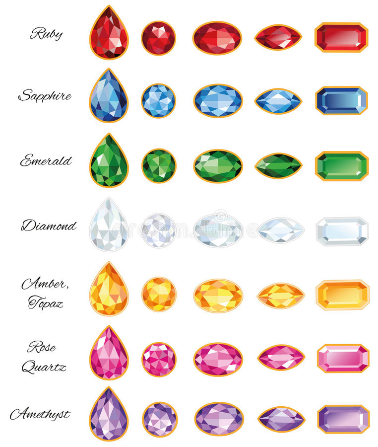 Seven Sets Of Jewelery With Text. Seven different sets of cut gems - ruby, sapphire, emerald, diamond, amber, rose quartz and amethyst on a white background vector illustration