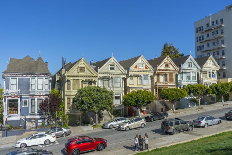 Seven Sisters at Alamos Square in San Francisco, CA stock photos