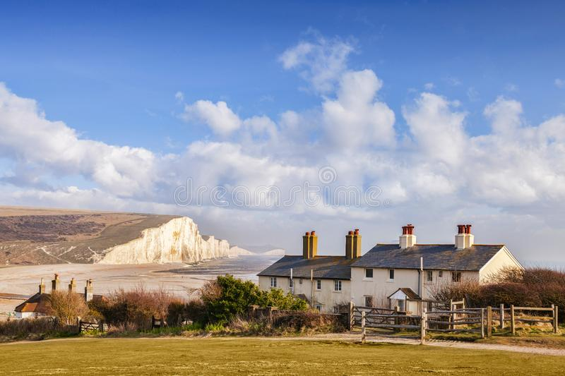 Seven Sisters and Coastguard Cottages Sussex England stock images